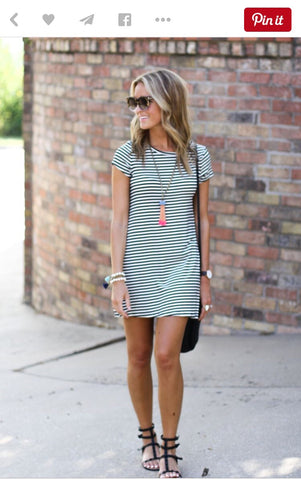 7e0fd7c5cd7 Stripe dress inspiration outfits shown here. More accessories the better