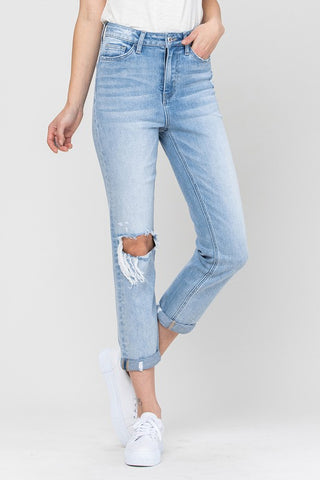Vervet High Rise Cuffed Straight Leg Jean(V2218)