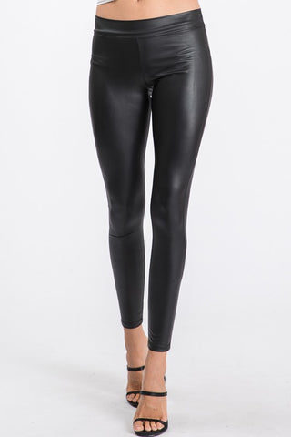 (342)Black Faux Leather Leggings