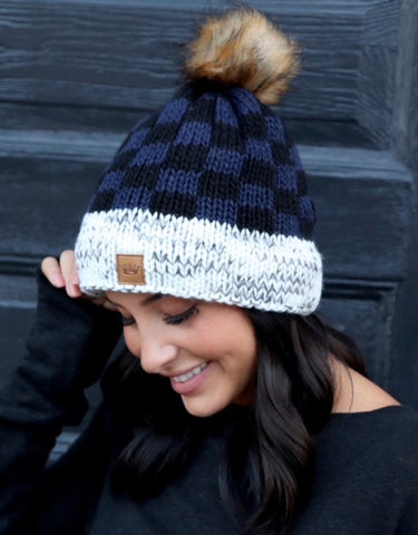 (H254) Navy Buffalo Plaid Hat with Pom