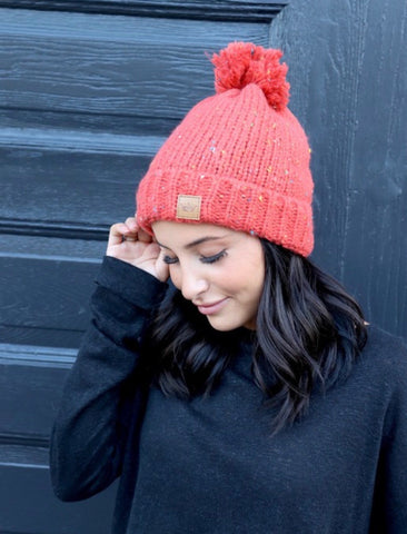 (H230) Orange Speckled Beanie