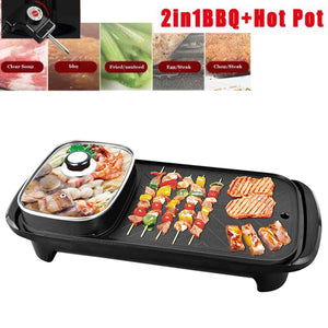 2 in 1 Heavy Duty Electric Smokeless Grill