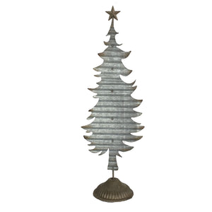 Large Handmade Festive Tin Christmas Tree with Star on Top & Solid Base