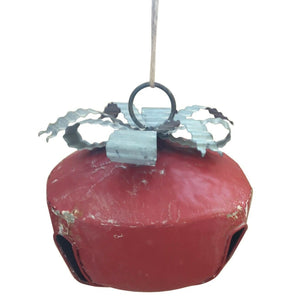 Large Handmade Retro Red Christmas Hanging Metal Bauble Bell Decoration Xmas
