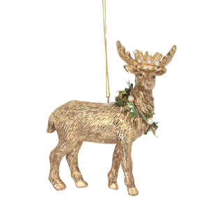 Christmas Gold Stag Tree Ornament