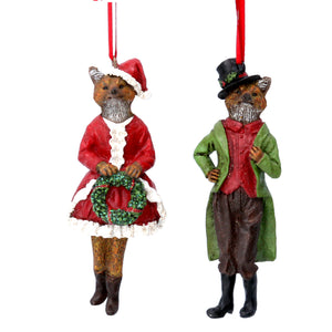 Mr And Mrs Fox Christmas Tree Ornaments