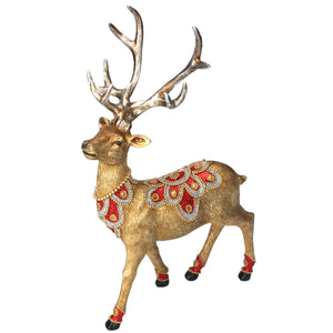 Christmas Gold Stag Ornament With Red And Gold Jewels