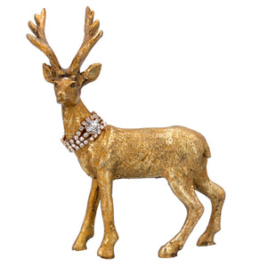 Christmas Gold Reindeer with Diamante Collar