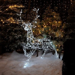 White Wire Frame Stag with White LED Lights 1.45m