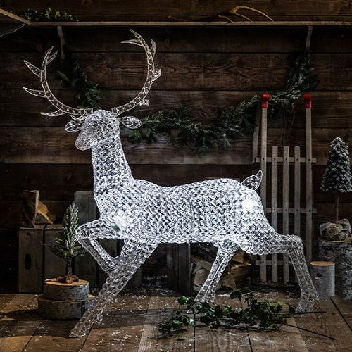 Northern Lights Jewelled Stag with White Lights 1.4m