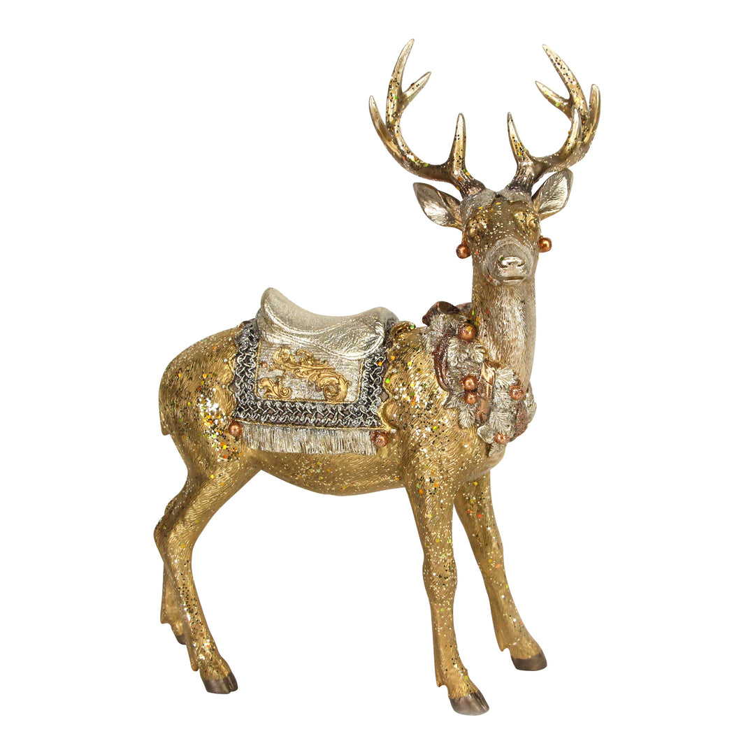 Christmas Gold Ornate Stag 40cm Decoration