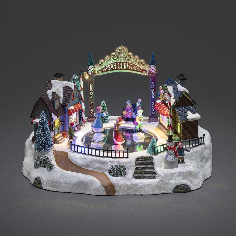 Konstsmide Christmas Musical Fairground Mechanical Village Decoration