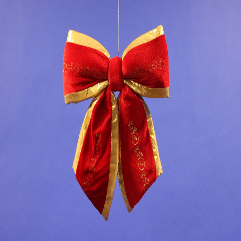 Red and Gold Christmas Velvet Bow