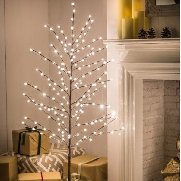 1.5m Warm White Flocked Berry Tree
