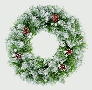 Green Snowy Tip Wreath with Pine Cones
