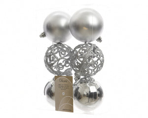 Set of 6 Mixed Silver Baubles