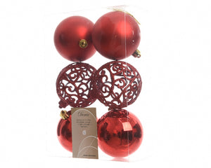 Set of 6 Red Mixed Baubles