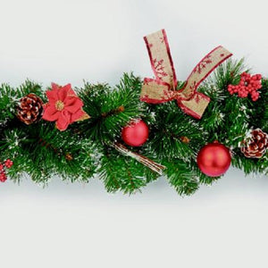 Christmas Red Dressed Garland 180cm
