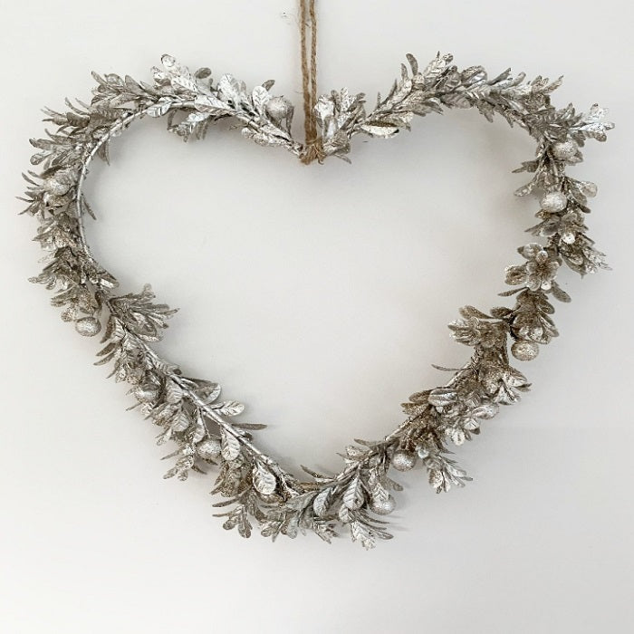Christmas Silver Berry Heart Shaped Wreath