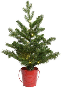 2ft Pre Lit Christmas Tree in Red Bucket