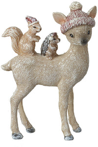 Small Christmas Deer Ornament with Hedgehog and Squirrel