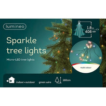 Load image into Gallery viewer, Lumineo Multi Colour Green Cable Sparkle Tree Lights 180cm