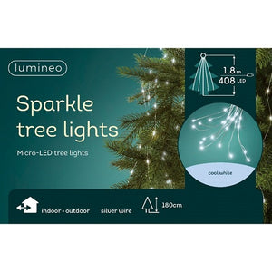Lumineo Cool White Silver Cable Sparkle Tree Lights 180cm