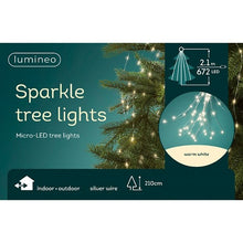 Load image into Gallery viewer, Lumineo Warm White Silver Cable Sparkle Tree Lights 210cm