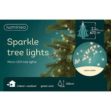 Load image into Gallery viewer, Lumineo Warm White Green Cable Sparkle Tree Lights 210cm