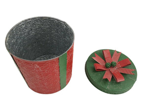 Large Red  Festive Metal Present Storage Container