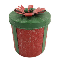 Load image into Gallery viewer, Large Red  Festive Metal Present Storage Container