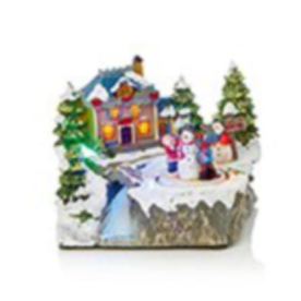 Christmas Village with Rotating Characters 19cm Battery Operated