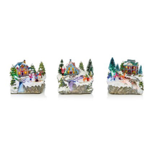 Load image into Gallery viewer, Christmas Village with Rotating Characters 19cm Battery Operated