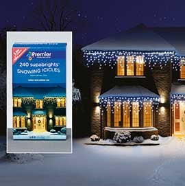 Premier Superbright Snowing Icicles White 240 LEDs