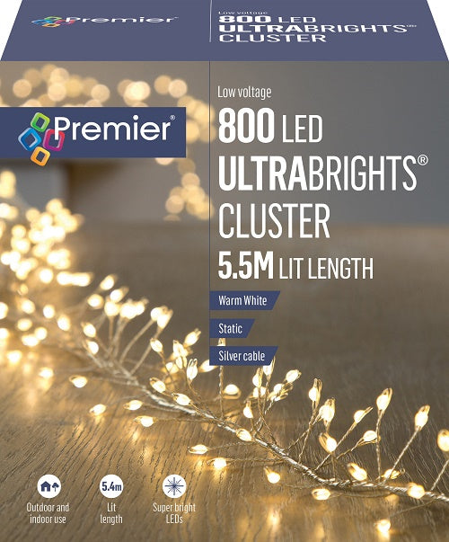 Premier 800 Warm White LED Ultrabright Cluster Lights