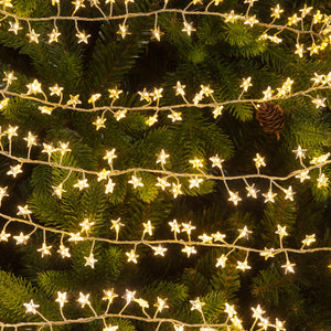 240 Christmas Star Cluster Dewdrop Warm White Lights