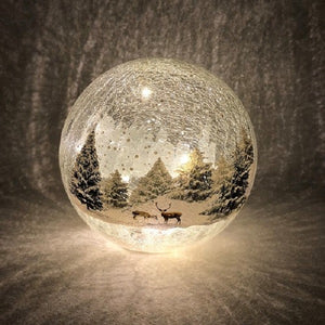 Crackle Effect Lit 20cm Ball with Forest Scene Battery Operated