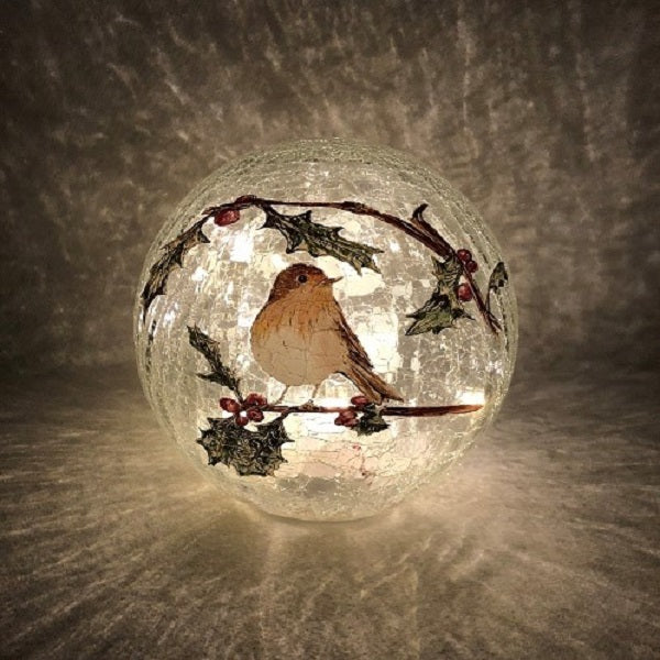 Crackle Effect Lit 20cm Ball with Robin Scene Battery Operated