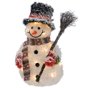 Festive 50cm Lit Snowman with Broom
