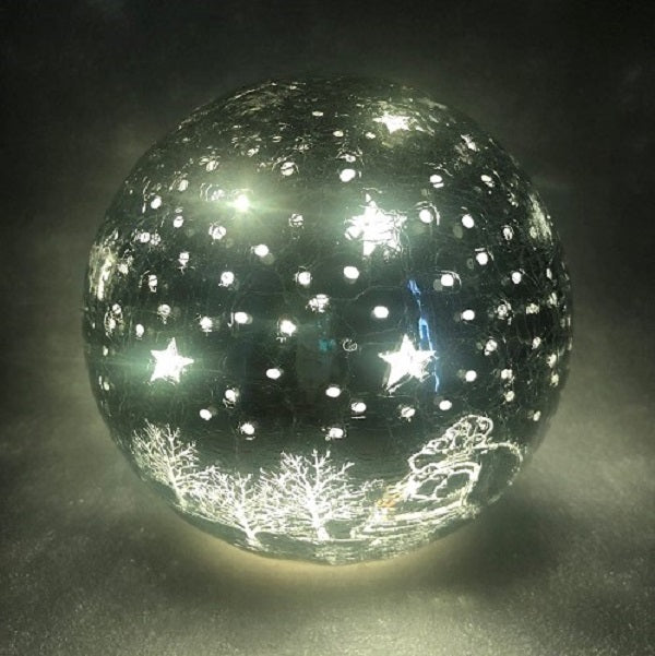 Crackle Effect Lit 20cm Ball with Santa Scene Battery Operated