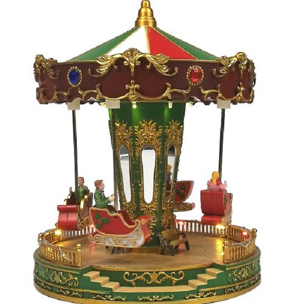 Lit Musical Carousel with Up and Down Sleighs 27cm Battery Operated