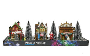 Christmas Village Street Scene 17 pieces Battery Operated