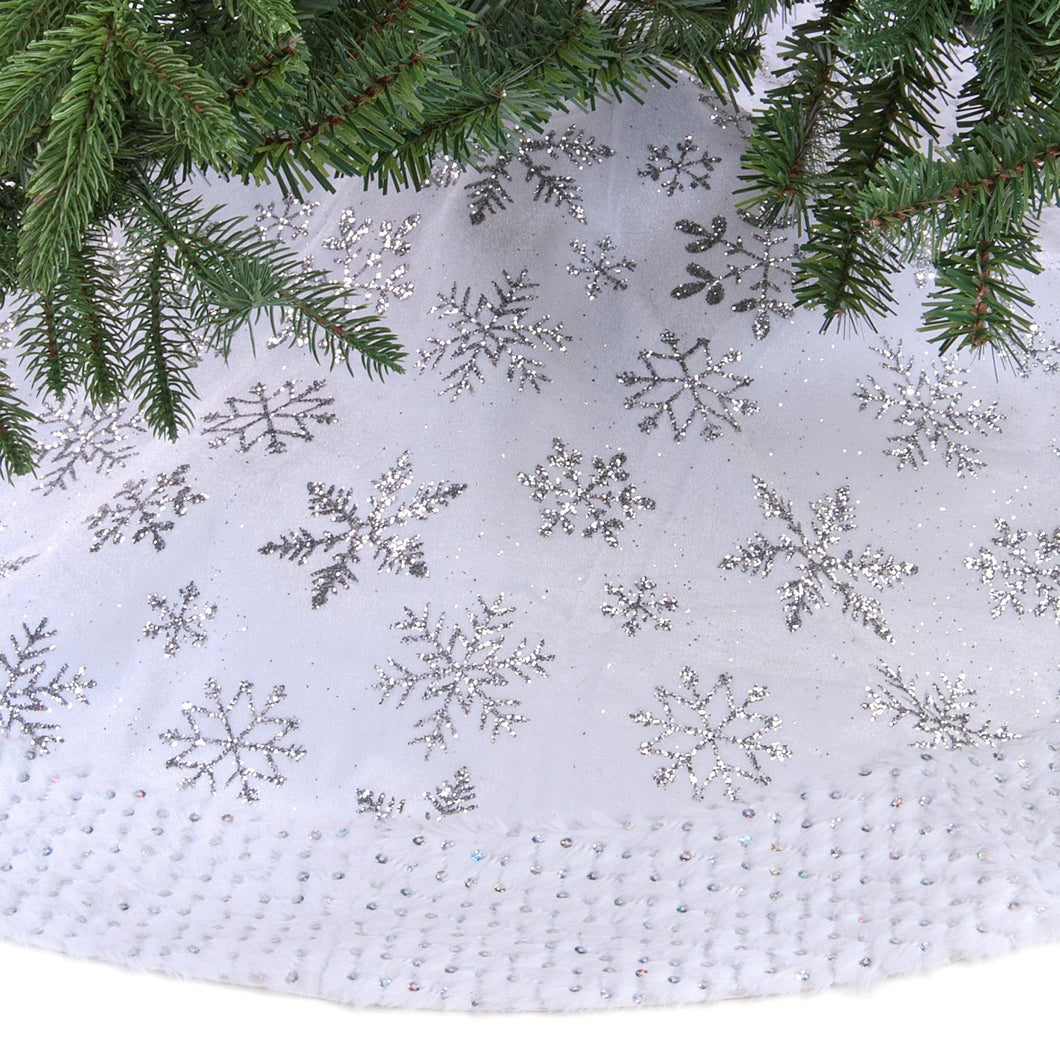White with Silver Snowflakes Tree Skirt