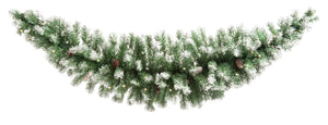 Frosted Swag 180cm with Pine Cones and Warm White Lights Battery Operated
