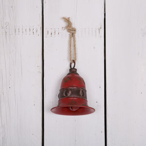 Large Red Rustic Christmas Metal Bell 19cm