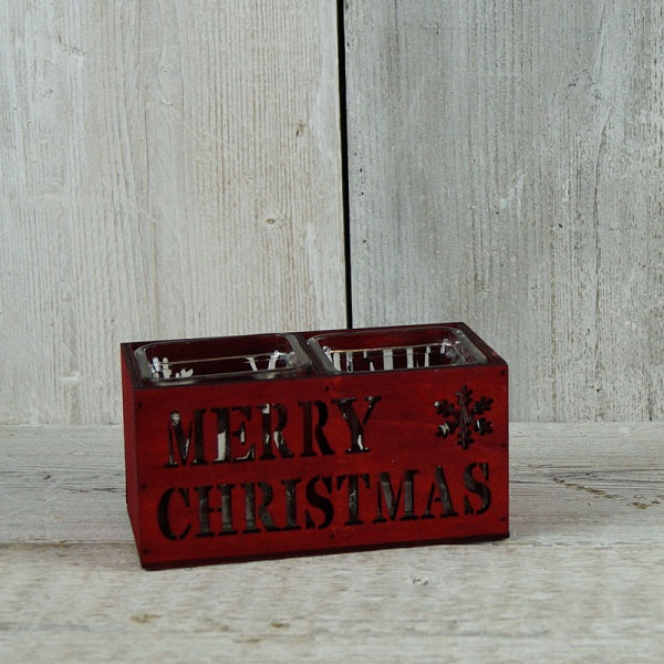 Merry Christmas Red Candle Holder