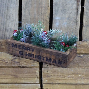 Small Merry Christmas 2 Candle Holder with Foliage
