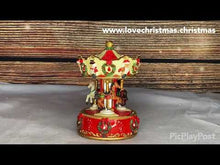 Load and play video in Gallery viewer, Christmas Carousel with Horses Vintage Style Music Box
