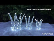 Load and play video in Gallery viewer, Chirstmas Soft Acrylic 3 Piece Set of Crowns 140 White LED Lights