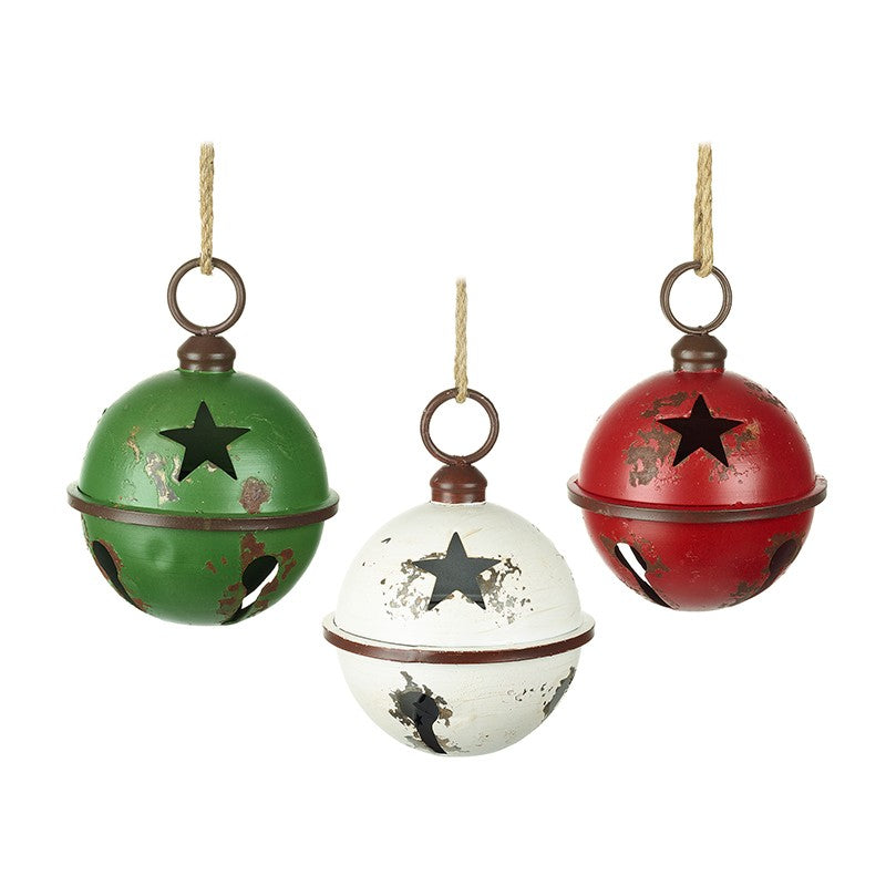 Christmas Vintage Style Star Cut Out Metal Baubles